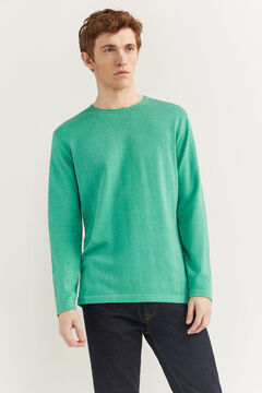 Springfield Melange cotton jumper with elbow pads green
