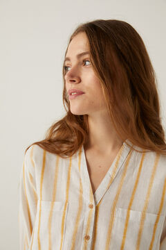 Springfield Organic cotton linen mandarin collar blouse. yellow