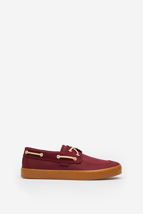 ab8d76c5d Springfield Canvas boat shoe with coloured sole bordeaux
