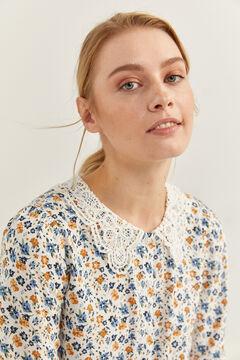 Springfield Crochet neck blouse ecru