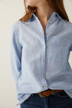 Springfield Organic cotton linen blouse blue mix