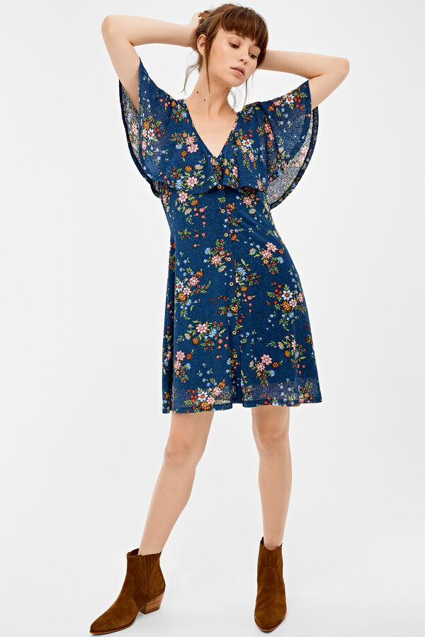 78cb598435cbe Springfield Printed dress with flounced layer blue mix. Shop Now!
