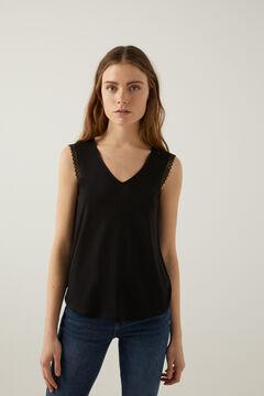 Springfield T-shirt lace épaules noir