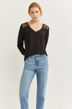 Springfield Two-material Lace Shoulders T-shirt natural