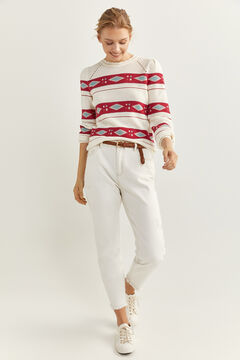 Springfield Jacquard Borders Jumper natural