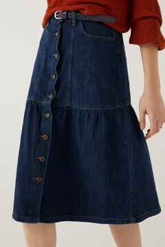 Springfield Flounced denim midi skirt  blue