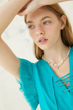 Springfield Lace-up neckline t-shirt blue