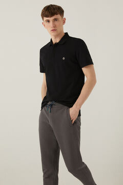 Springfield Slim fit spandex polo shirt black