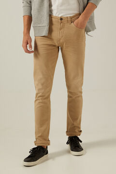 Springfield Slim fit washed 5-pocket coloured trousers camel