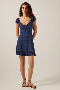 Springfield Printed short dress blue mix