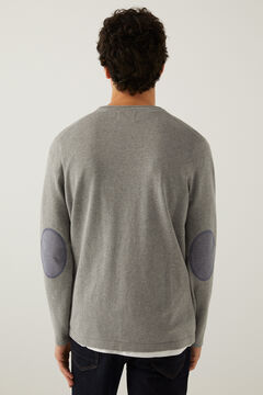 Springfield Klassischer Pullover Baumwolle Ellenbogenschützer silber