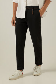 Springfield Mikromintás chino slim nadrág, kulcstartóval fekete