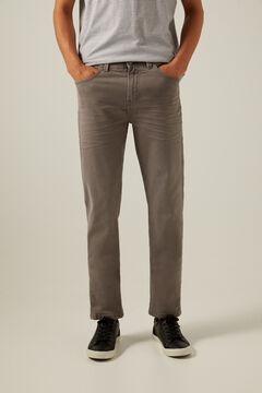 Springfield Slim fit washed 5-pocket coloured trousers gray