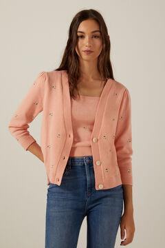 Springfield Cardigan florecitas bordadas rosa