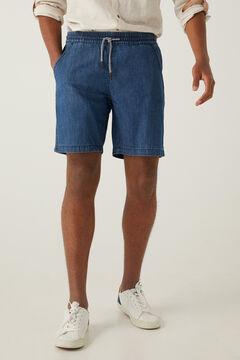 Springfield Medium wash black denim Bermuda beach shorts steel blue