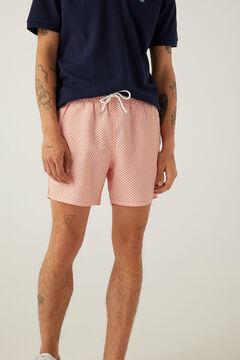 Springfield Zipped pocket printed swimming shorts tan