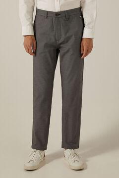 Springfield Strukturált, kétszínű chino nadrág fekete