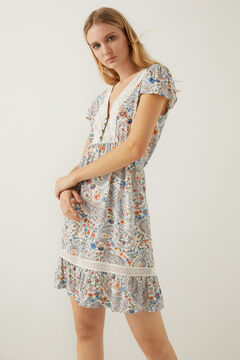 Springfield Crochet neckline paisley dress grey