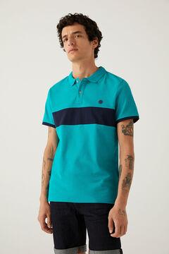 Springfield Slim stripe polo shirt petrol