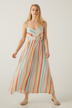Springfield Long multicoloured striped dress grey