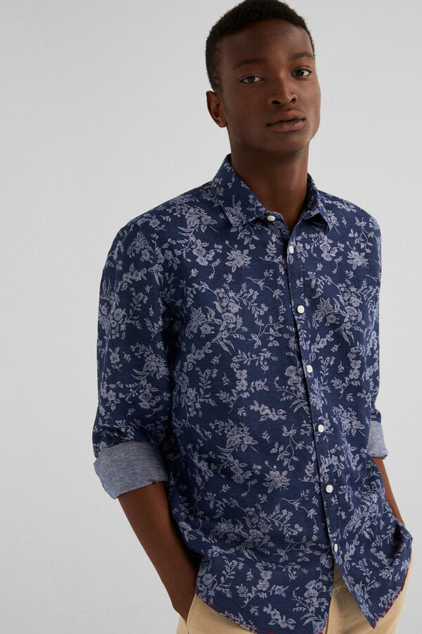 873f983ea27 Springfield Printed linen shirt navy