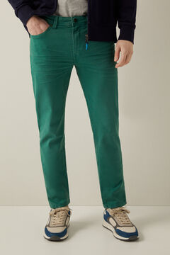 Springfield Slim fit washed 5-pocket trousers green