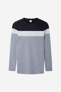 Springfield Block long-sleeved piqué T-shirt black