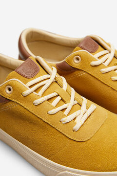 Springfield Lace-up sneaker in split leather golden