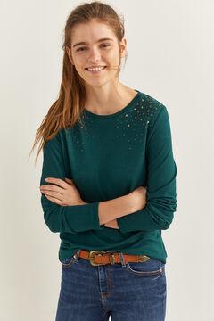 Springfield Camiseta estrellas tachas hombros verde agua