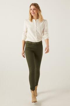 Springfield Pantalón bordados cintura verde