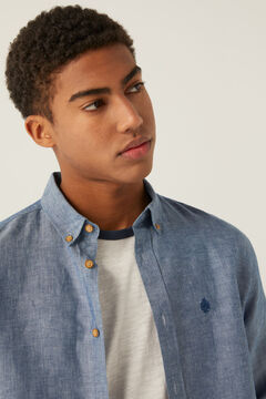 Springfield Camisa lino azulado