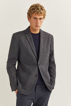 Springfield TWO-TONE TEXTURED FABRIC BLAZER bluish