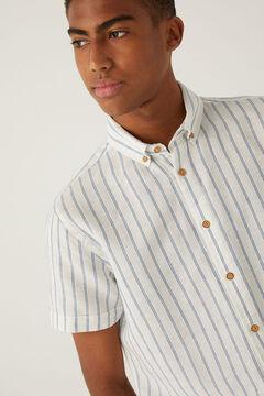 Springfield Striped linen shirt steel blue