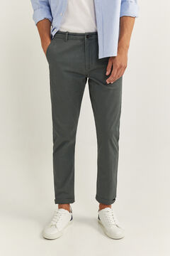 Springfield SLIM FIT WELT WAISTBAND CHINOS grey