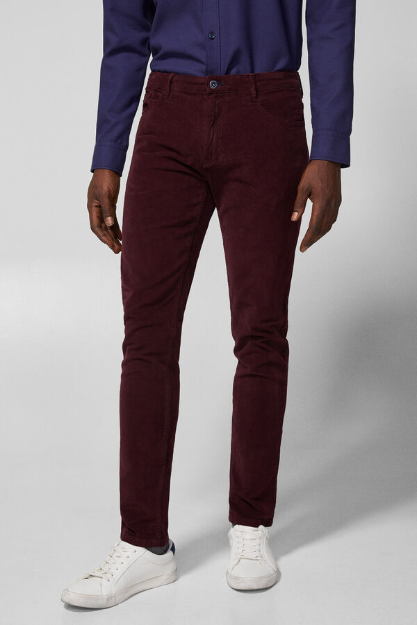 Springfield Slim fit five-pocket corduroy trousers red 9b079a7a40