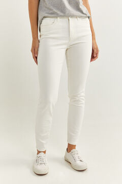 Springfield Slim fit cropped coloured denim jeans natural