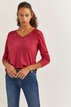 Springfield Two-material Lace Shoulders T-shirt red