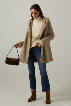 Springfield A-line coat with hood camel