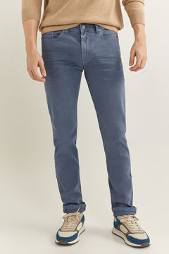 Springfield Pantalon 5 poches slim lavé blue mix