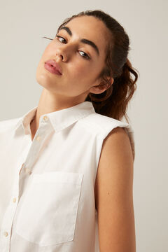 Springfield Sleeveless shoulder pads blouse white