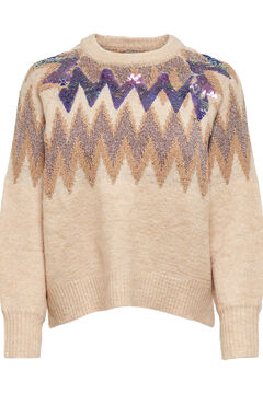 Springfield Geometric borders jumper brown