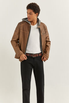 Springfield FAUX LEATHER BIKER JACKET WITH REMOVABLE HOOD brown