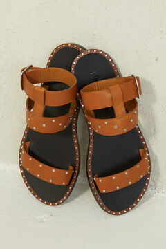 Springfield Brown leather sandal with studs brown