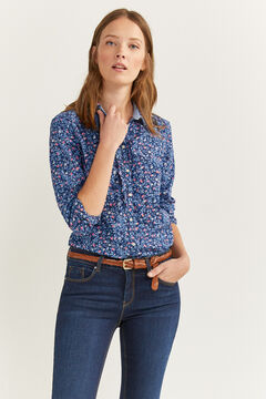 Springfield Essential printed shirt steel blue