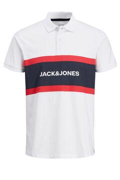 Springfield Colour block logo polo shirt  blanc