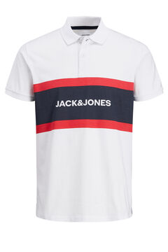 Springfield Colour block logo polo shirt  weiß