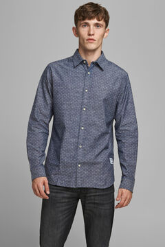 Springfield Printed organic cotton shirt marineblau