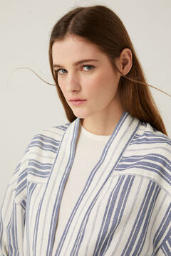 Springfield Striped linen belted blazer blue