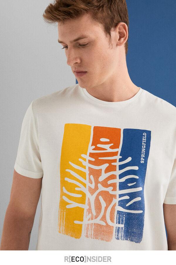 aed151f60a92 Springfield Short-sleeved logo t-shirt ecru