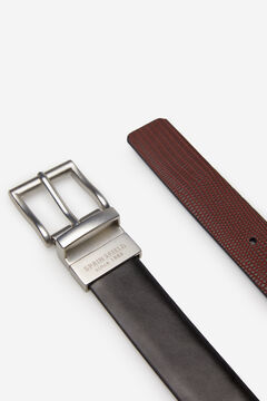 Springfield Reversible embossed leather belt black